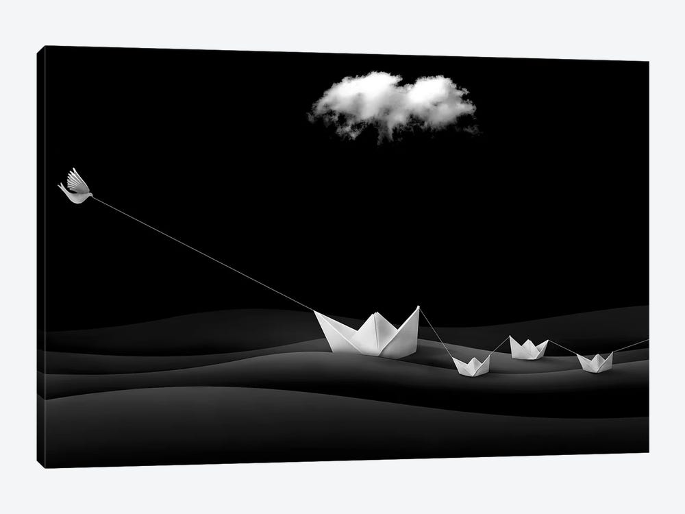Paper Boats by Sulaiman Almawash 1-piece Canvas Art