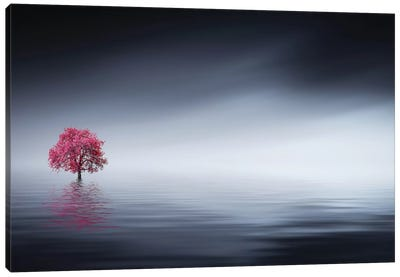 Pink Tree At Lake Canvas Art Print