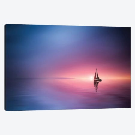 Sailing Across The Lake Toward The Sunset Canvas Print #OXM4205} by Bess Hamiti Canvas Print
