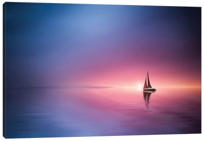 Sailing Across The Lake Toward The Sunset Canvas Art Print