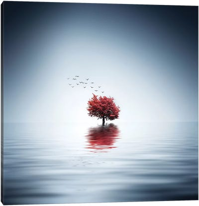 Autumn Trees Reflected Blue Lake Canvas Art Print