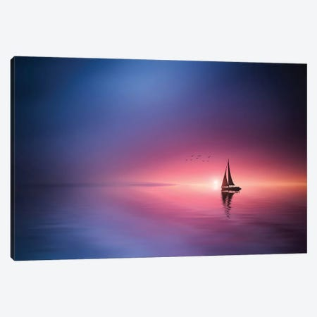 Sailing Across The Lake Toward The Sunset Canvas Print #OXM4281} by Bess Hamiti Canvas Artwork