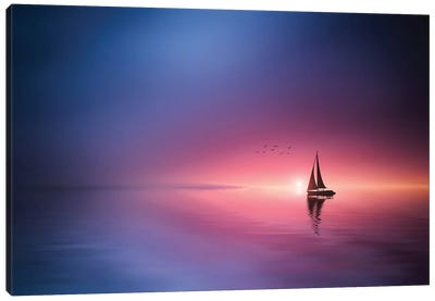Sailing Across The Lake Toward The Sunset Canvas Art Print