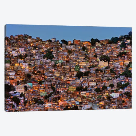 Nightfall In The Favela da Rocinha Canvas Print #OXM4286} by Adelino Alves Canvas Art Print