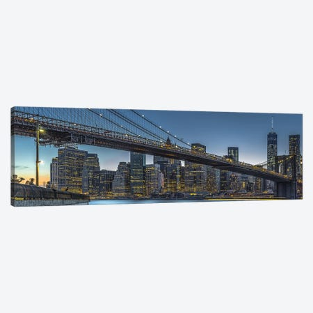 New York - Blue Hour Over Manhattan Canvas Print #OXM4391} by Michael Jurek Canvas Artwork