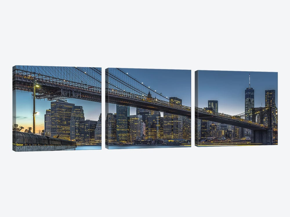 New York - Blue Hour Over Manhattan by Michael Jurek 3-piece Canvas Art Print