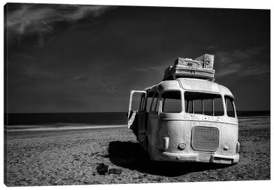 Beached Bus Canvas Art Print