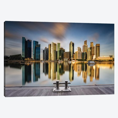 Golden Morning In SIngapore Canvas Print #OXM4450} by Zexsen Xie Art Print