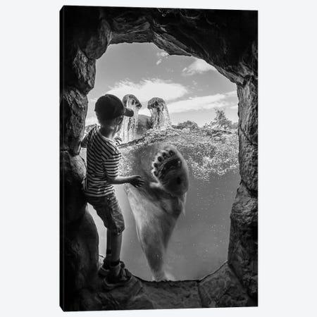 ... The Polar Bear And The Boy # 2 Canvas Print #OXM4520} by Joerg Vollrath Canvas Art Print