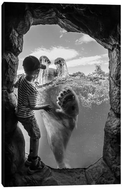 ... The Polar Bear And The Boy # 2 Canvas Art Print