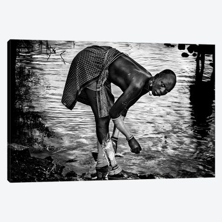 Surma Tribe Woman Washing Up Her Jewelry - Ethiopia Canvas Print #OXM4547} by Joxe Inazio Kuesta Canvas Wall Art