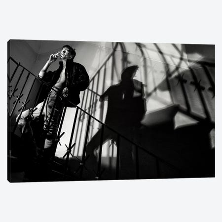 Waiting At The Stairs Canvas Print #OXM4576} by Peter Müller Photography Art Print