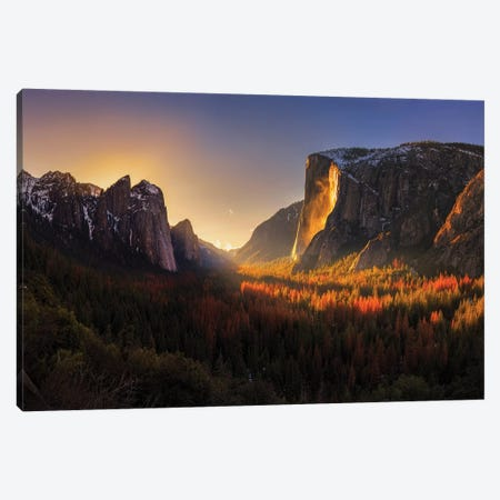 Yosemite Firefall Canvas Print #OXM4601} by Yan Zhang Canvas Wall Art