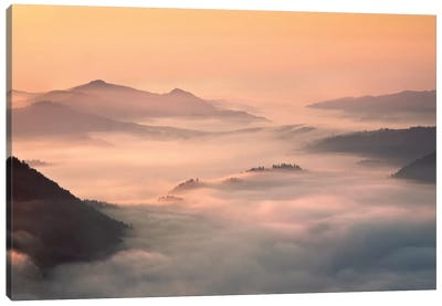 Foggy Morning In The Mountains Canvas Art Print