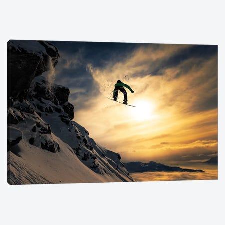 Sunset Snowboarding Canvas Print #OXM4696} by Jakob Sanne Canvas Art