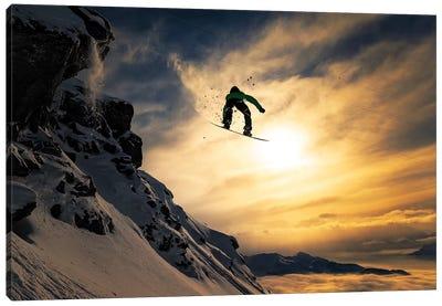 Sunset Snowboarding Canvas Art Print