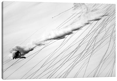 Skiing Powder Canvas Art Print