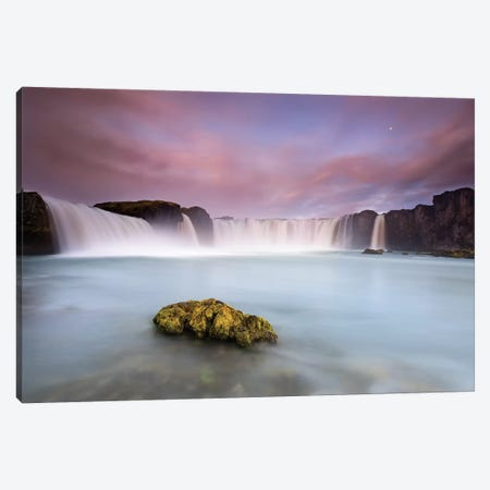Godafoss And The Moon Canvas Print #OXM4719} by Luigi Ruoppolo Canvas Wall Art
