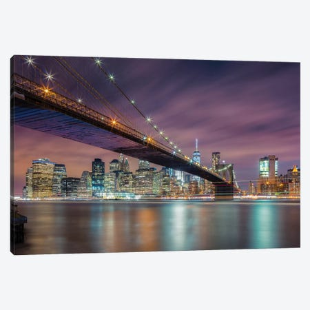 Brooklyn Bridge At Night Canvas Print #OXM4733} by Michael Zheng Canvas Art