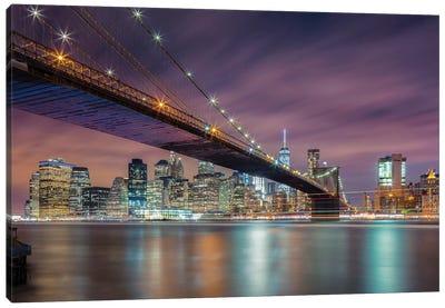 Brooklyn Bridge At Night Canvas Art Print