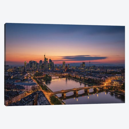 Frankfurt Skyline At Sunset Canvas Print #OXM4777} by Robin Oelschlegel Canvas Print