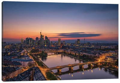 Frankfurt Skyline At Sunset Canvas Art Print