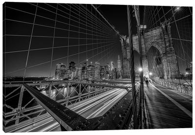 Brooklyn Bridge Lights Canvas Art Print