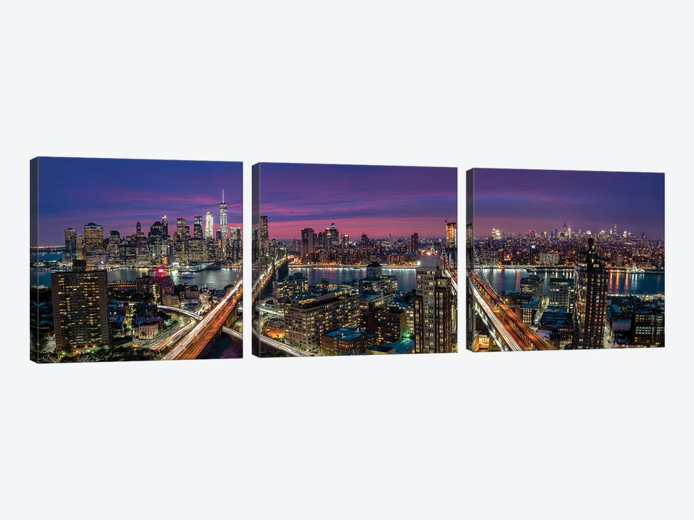 Manhattan Skyline During Beautiful Sunset by Thomas D Mørkeberg 3-piece Canvas Artwork