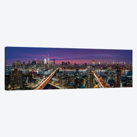 Manhattan Skyline During Beautiful Sunset 3-Piece Canvas #OXM4822} by Thomas D Mørkeberg Canvas Wall Art