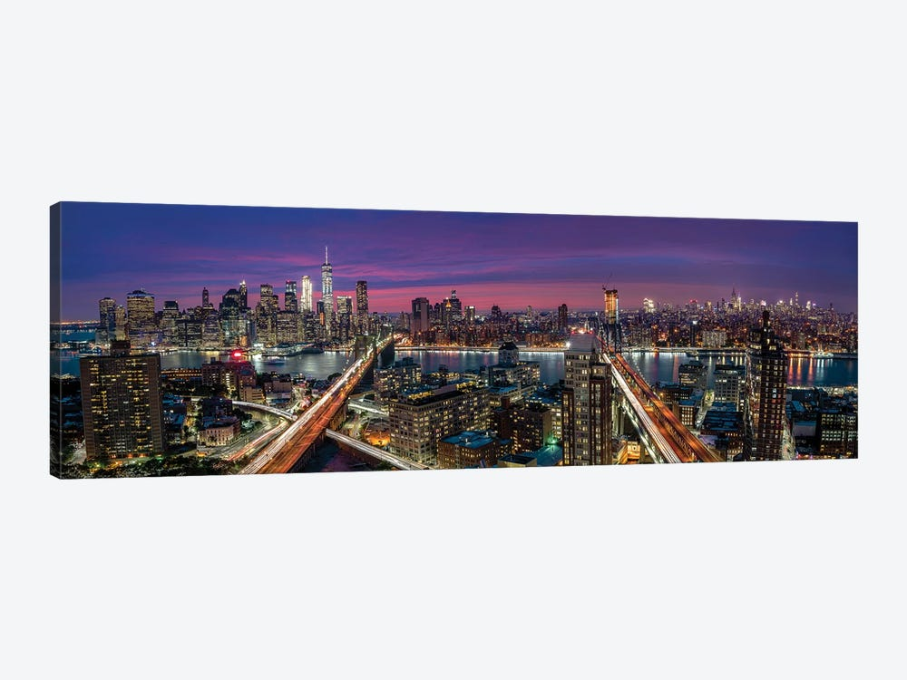 Manhattan Skyline During Beautiful Sunset by Thomas D Mørkeberg 1-piece Canvas Artwork