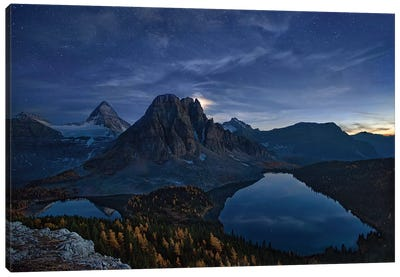 Starry Night At Mount Assiniboine Canvas Art Print