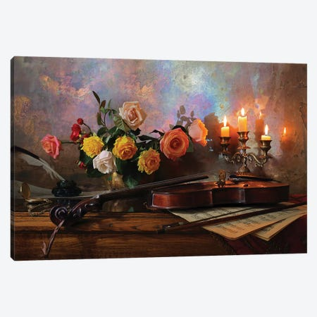 Still Life With Violin And Flowers 3-Piece Canvas #OXM4870} by Andrey Morozov Canvas Print