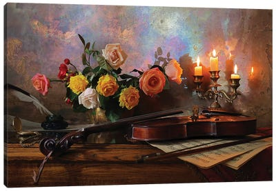 Still Life With Violin And Flowers Canvas Art Print