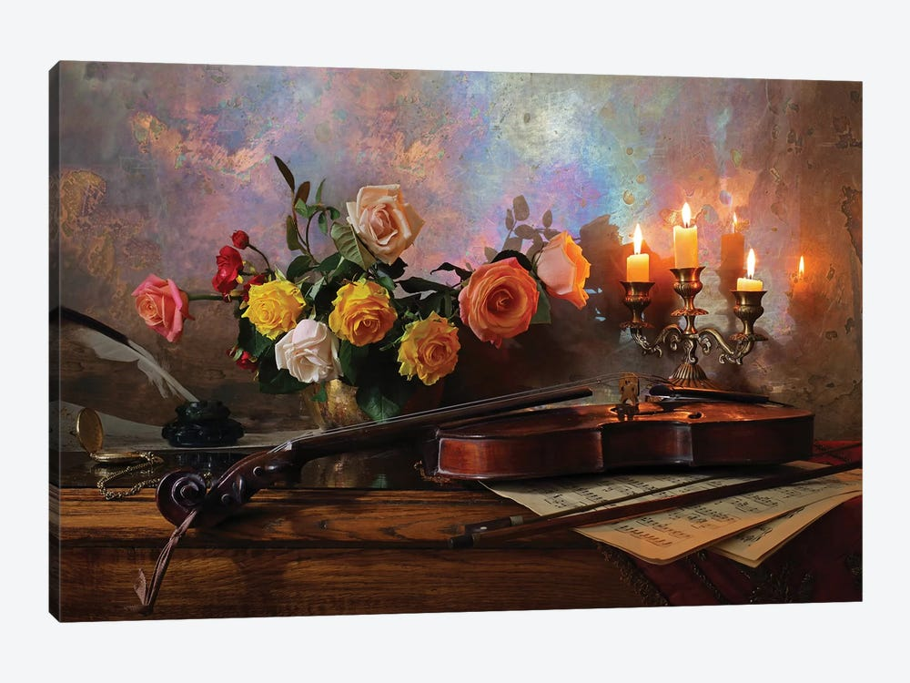 Still Life With Violin And Flowers by Andrey Morozov 1-piece Art Print