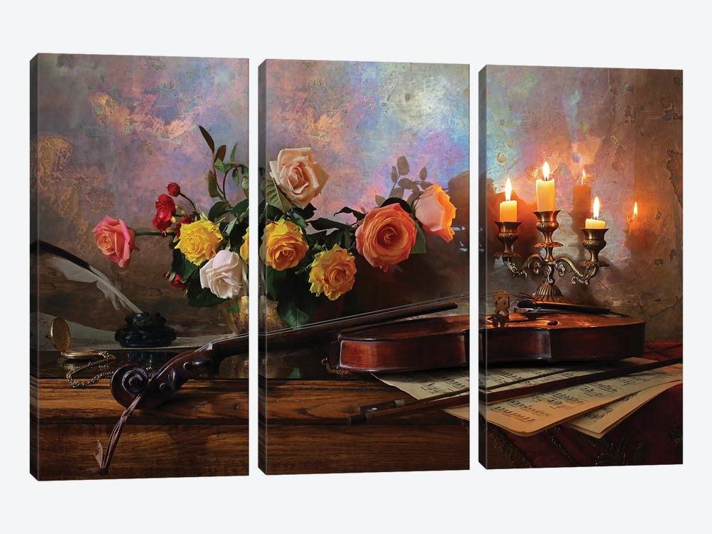 Still Life With Violin And Flowers by Andrey Morozov 3-piece Art Print