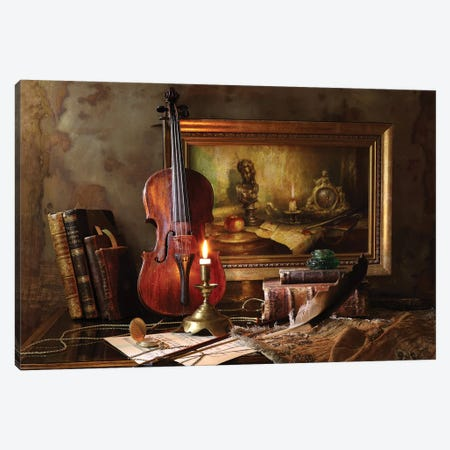 Still Life With Violin And Painting Canvas Print #OXM4871} by Andrey Morozov Canvas Art Print