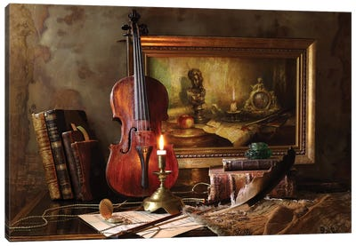 Still Life With Violin And Painting Canvas Art Print