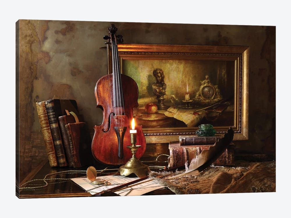 Still Life With Violin And Painting by Andrey Morozov 1-piece Canvas Wall Art