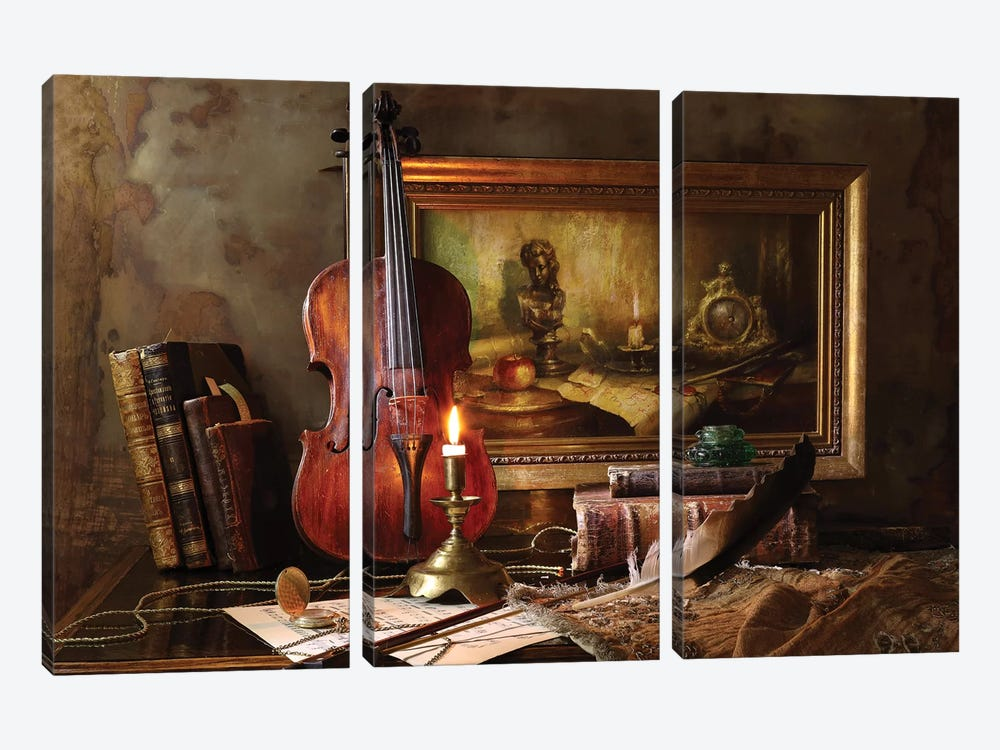 Still Life With Violin And Painting by Andrey Morozov 3-piece Canvas Artwork
