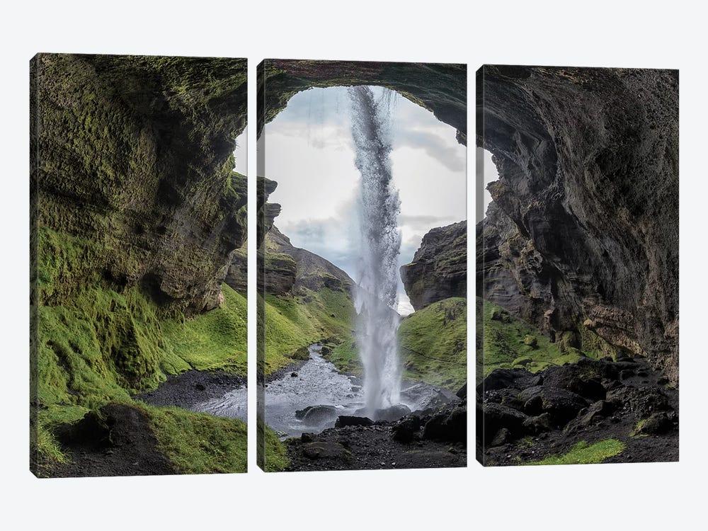Hidden Waterfall by Bragi Kort 3-piece Canvas Wall Art