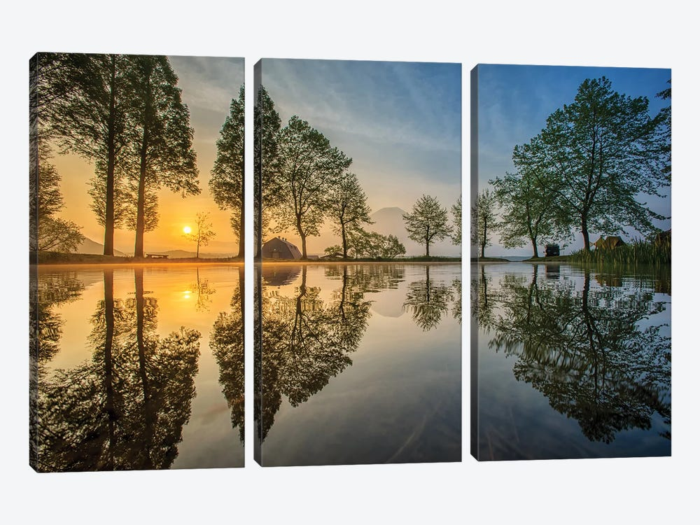 Mount Fuji Reflected In Lake , Japan by Chanwit Whanset 3-piece Canvas Art