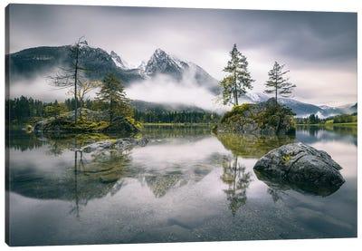 Rainy Morning At Hintersee (Bavaria) Canvas Art Print