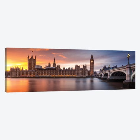 London Palace Of Westminster Sunset Canvas Print #OXM4939} by Merakiphotographer Canvas Wall Art