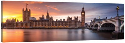 London Palace Of Westminster Sunset Canvas Art Print