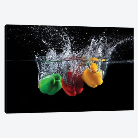 Paprika Splash Canvas Print #OXM4944} by Mogyorosi Stefan Canvas Artwork