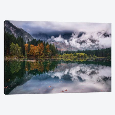 Autumn Mood At Fusine Lake Canvas Print #OXM4975} by Ales Krivec Canvas Print