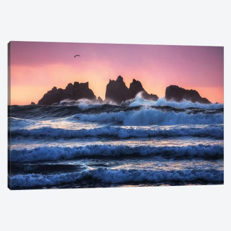 Bandon Beach Layers Canvas Print #OXM5068} by Daniel Gastager Canvas Art Print