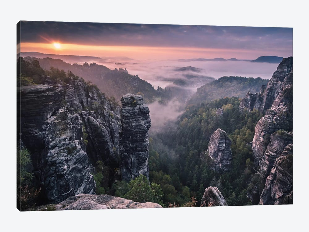 Sunrise On The Rocks 1-piece Canvas Print