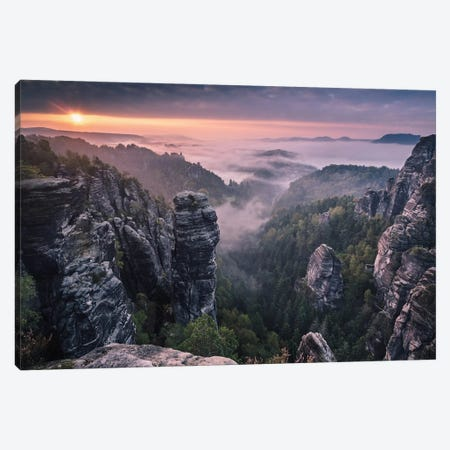 Sunrise On The Rocks Canvas Print #OXM506} by Andreas Wonisch Canvas Artwork
