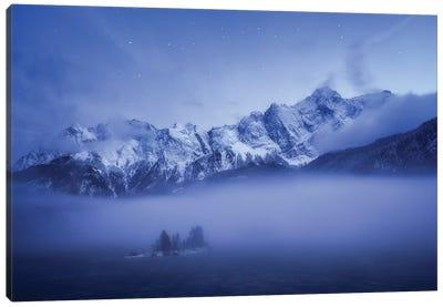 Misty Winter Evening Canvas Art Print